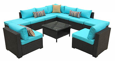 Rattaner 10 Piece Patio Sectional Furniture Set